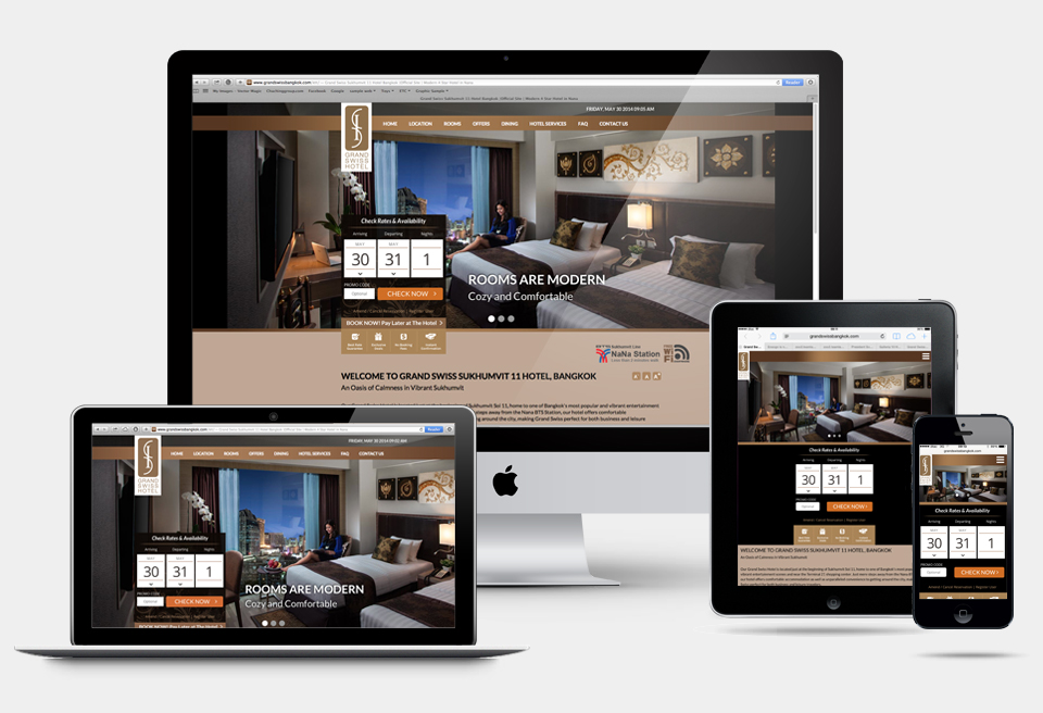 Responsive hotel website design grand swiss hotel for Hotel web design
